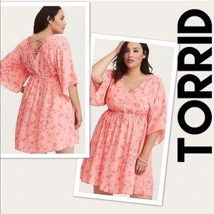 Torrid Coral Pink Floral Dress